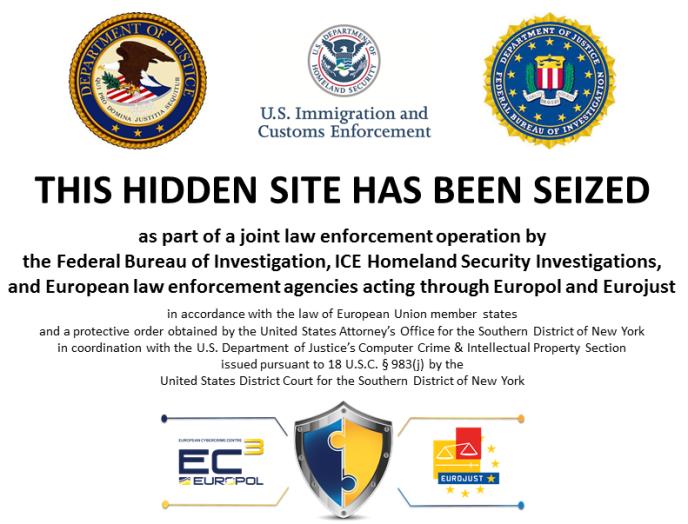 Les autorités ont remplacé les sites saisis par ce message.
