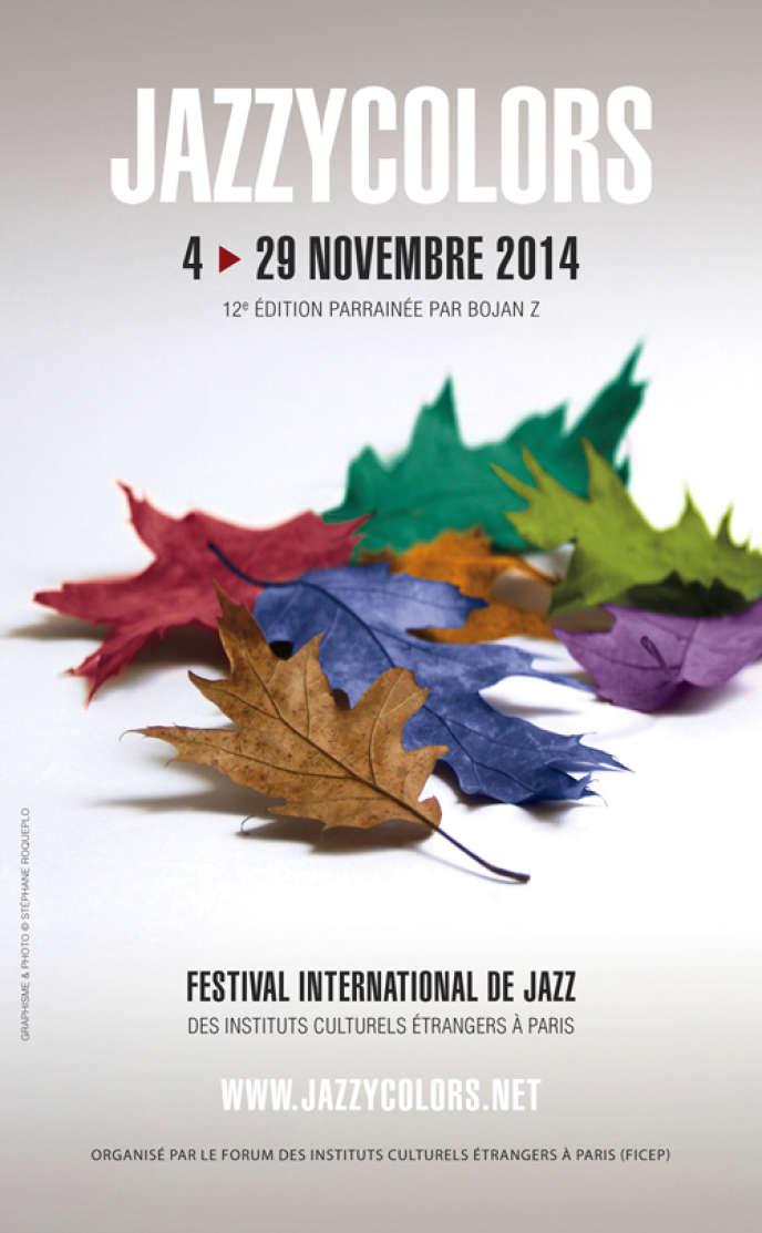 Affiche de la 12e édition du festival Jazzycolors. Graphisme: Stéphane Roqueplo.