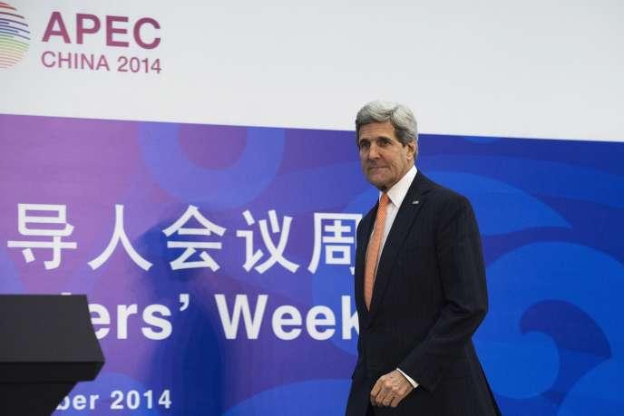 Le secrétaire d'Etat américain, John Kerry, lors du sommet de l'APEC,  à Pékin, le 8 novembre.