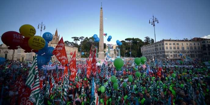 A Rome sur la Piazza del Popolo, le 8 novembre 2014.
