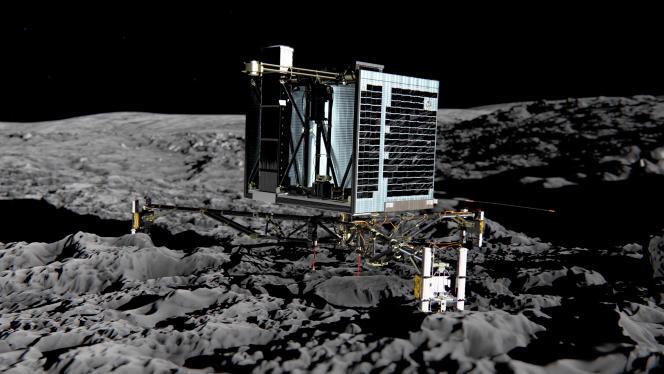 Vue d'artiste du module Philae sur la comète 67P/Tchourioumov-Guérassimenko.