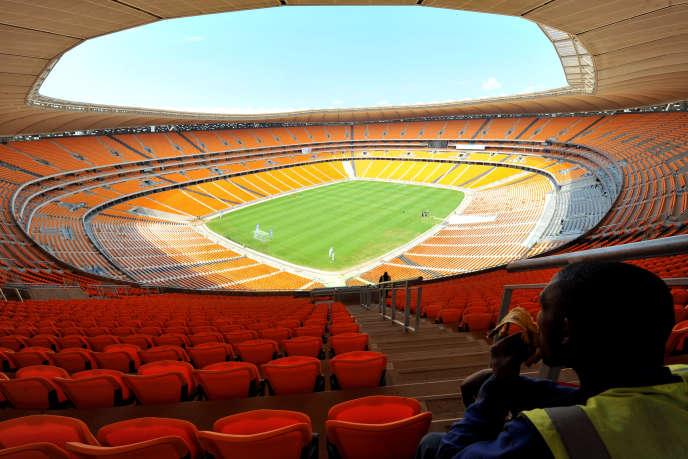 Le stade de Soweto lors de sa construction enmars2010, quelques mois avant la Coupe du monde de football en Afrique du Sud.
