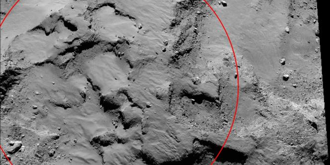 La zone d'atterrissage de Philae sur la comète Tchouri.
