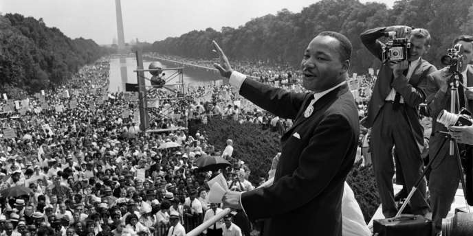 Martin Luther King lors de la grande marche à Washington en août 1963.