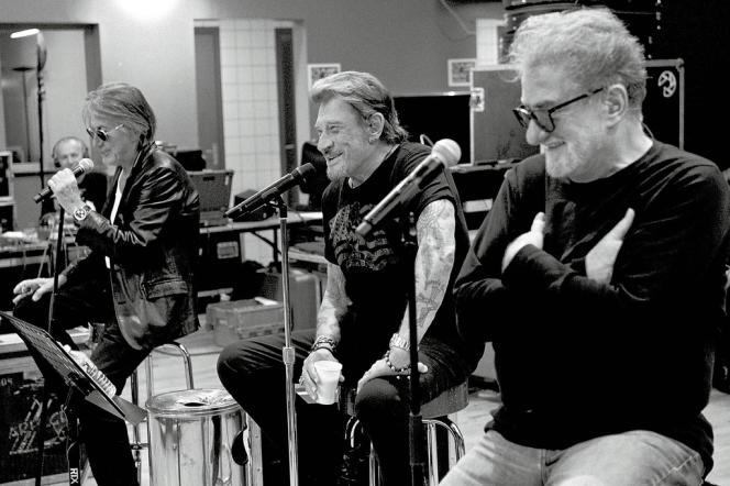 Jacques Dutronc, Johnny Hallyday, Eddy Mitchell  en répétition. A Paris, les  concerts des