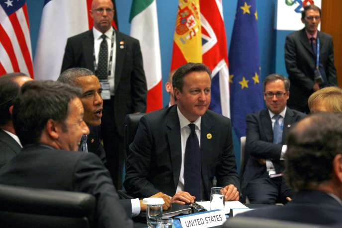 Rencontre entre Barack Obama et David  Cameron, en marge du sommet du G20 à Brisbane (Australie), dimanche 16 novembre.
