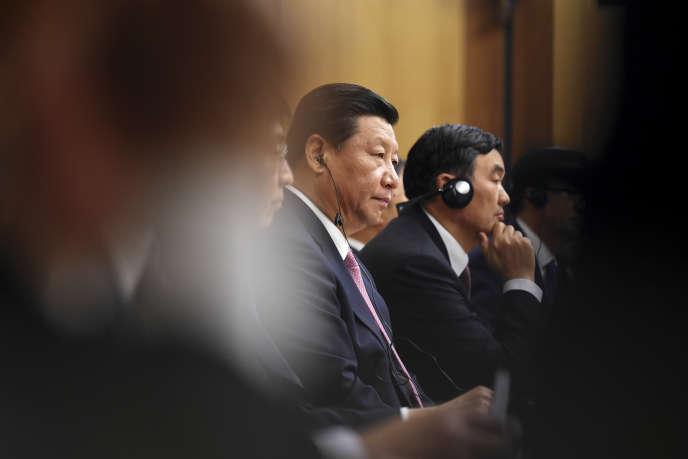 Xi Jinping, lors d'une rencontre avec des patrons australiens, à Canberra, en 2014.
