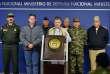 Le président colombien, Juan Manuel Santos (au centre), durant une conférence à Bogota, le 16 novembre2014.