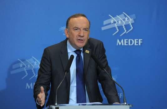 Pierre Gattaz lors de son accession à la présidence de la principaleorganisation patronale française, leMouvement des entreprises de France(Medef), le3juillet2013.