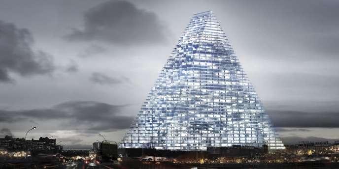 Représentation en image de synthèse de la tour Triangle à Paris (13e).