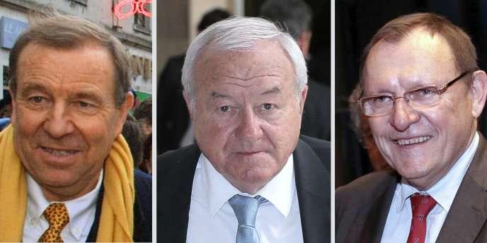 De gauche à droite, le député UMP Lucien Degauchy (Oise), le député UMP Bernard Brochand et le sénateur UMP Bruno Sido (Haute-Marne) sont visés par trois enquêtes préliminaires.