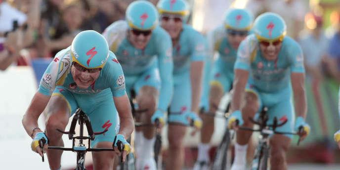 L'équipe Astana lors de la Vuelta, le 23août2013.