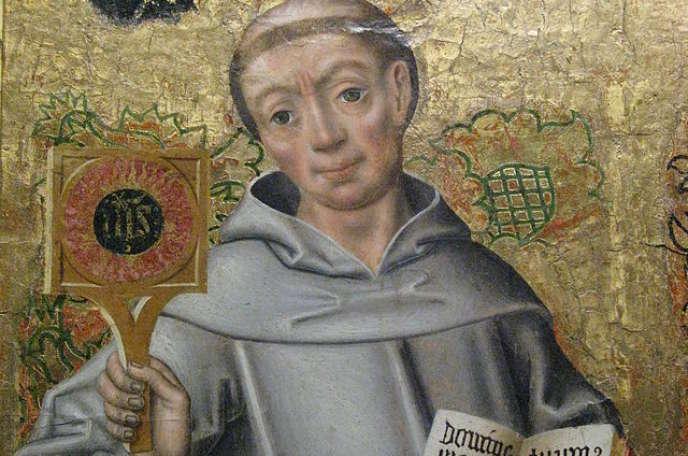Saint Bernardin de Sienne, détail d'un tableau du XVIe siècle conservé au château de Langeais (Indre-et-Loire).