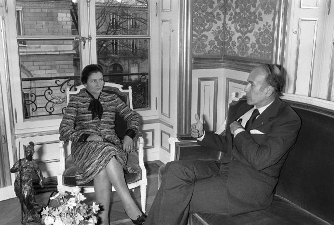 Simone Veil et Valéry Giscard d'Estaing en novembre 1974.