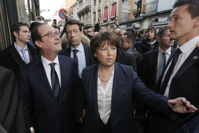 François Hollande et Martine Aubry avant leur déjeuner à Lille, le 22 novembre.