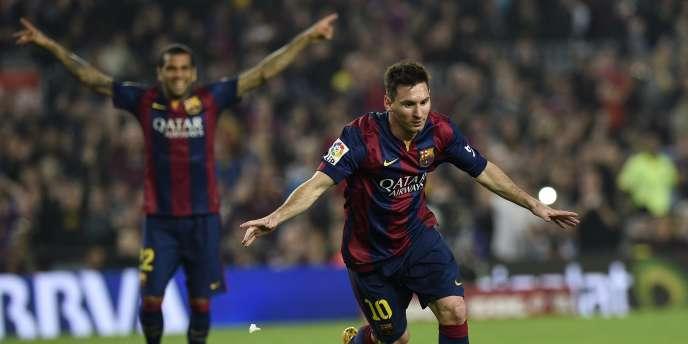 Le numéro 10 du Barça Lionel Messi, ici après avoir marqué à Séville, le 22 novembre 2014. Depuis le 1er janvier, il a inscrit 14 buts supplémentaires, toutes compétitions confondues.