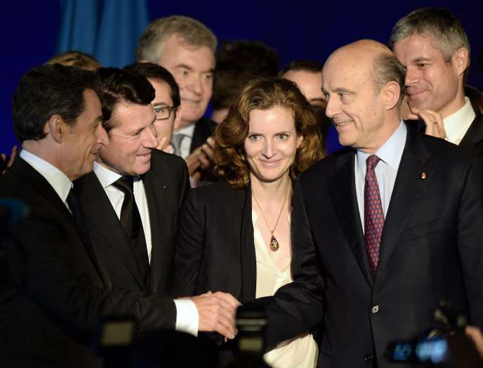 Nicolas Sarkozy, Christian Estrosi, Nathalie Kosciusko-Morizet et Alain Juppé, à Bordeaux, en 2014.