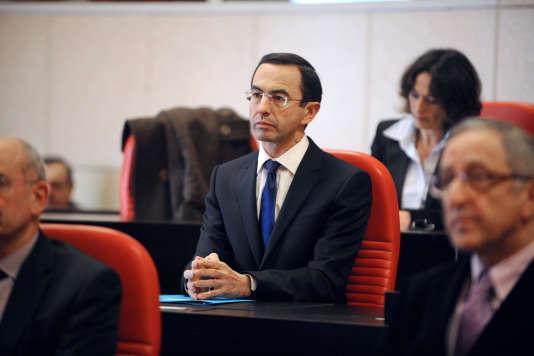 Le sénateur Bruno Retailleau en 2010, à La Roche-sur-Yon, lors de son élection comme président du conseil général.