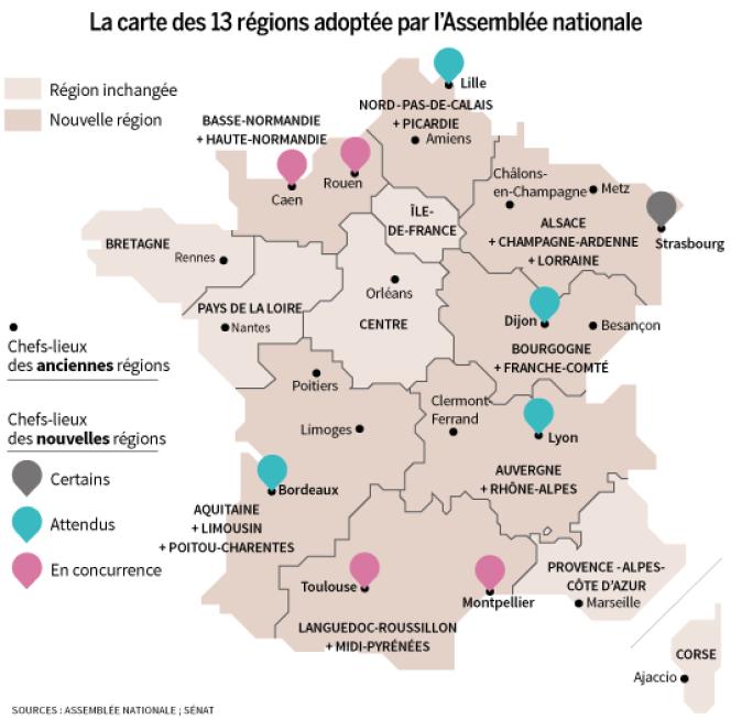 La carte des 13 régions adoptée par l'Assemblée nationale.