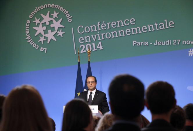 François Hollande lors de son discours d'ouverture de la 3e édition de la conférence environnementale jeudi 27 novembre.