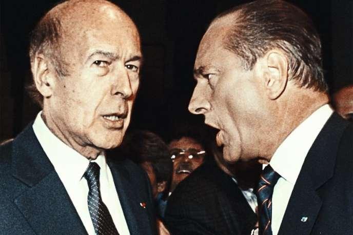 Discussion animée entre Valéry Giscard d'Estaing et Jacques Chirac le 6 mai 1988, à quarante-huit heures du second tour de la présidentielle.