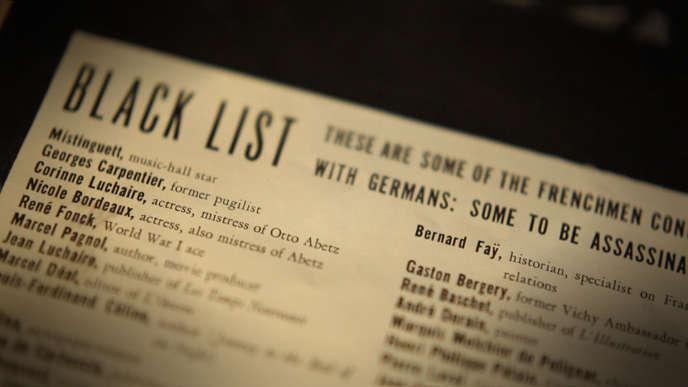 Black list publiée par les FFI  à Alger en 1943.