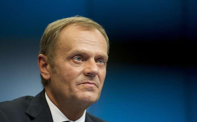 Donald Tusk, alors président du conseil  des ministres polonais, le jour de sa nomination, le 30 août à Bruxelles, au poste de président du Conseil européen.