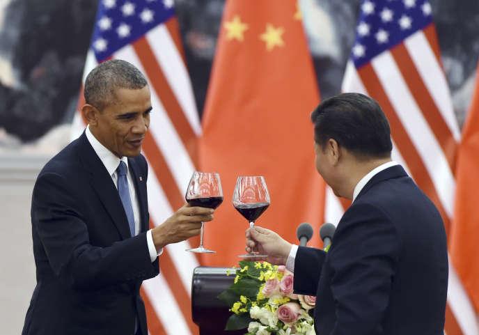 Le président américain, Barack Obama, avec son homologue chinois, Xi Jinping, en 2014.
