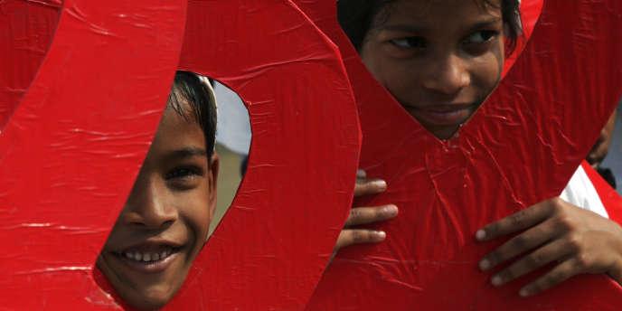Le 30 novembre 2014 en Inde, la veille de la journée mondiale de lutte contre le VIH.