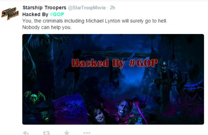 Capture d'écran d'un tweet diffusé le jour du piratage de Sony Pictures, le 24 novembre.