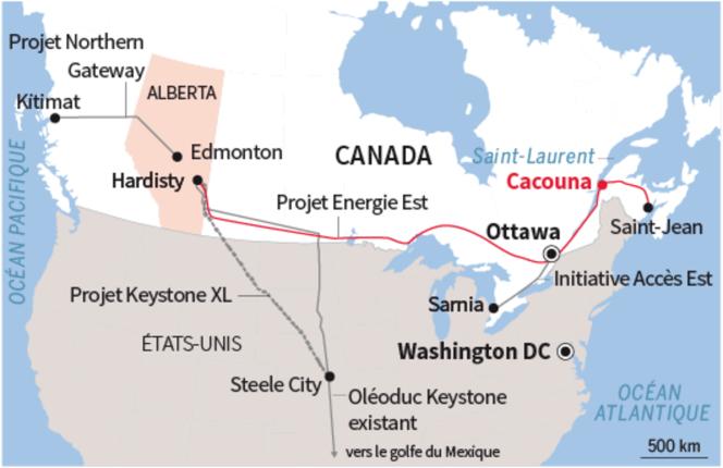 Le projet d'oléoduc de TransCanada devait traverser le Canada depuis l'Alberta vers l'embouchure du fleuve Saint-Laurent.
