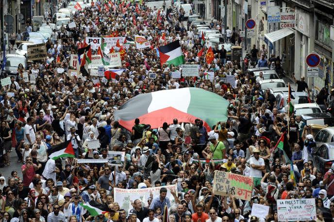 Manifestation pro-palestinienne le 2 août à Marseille.