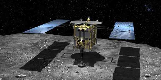 Vue d'artiste de la sonde japonaise Hayabusa-2 à la surface de l'astéroïde 1999JU3, qu'elle doit atteindre en2018.
