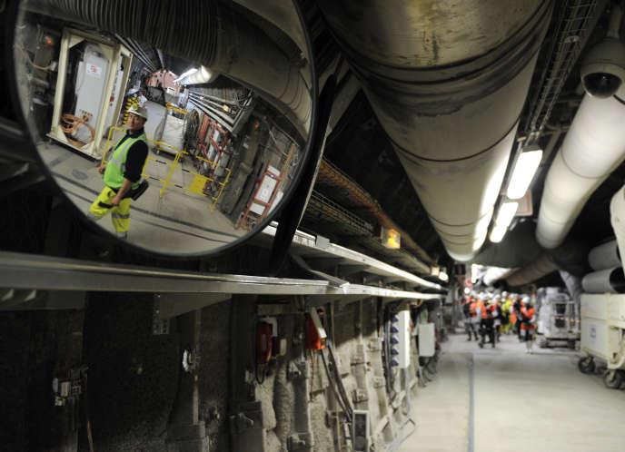 Visite du laboratoire souterrain de l' Agence nationale pour la gestion dechets radioactifs, à Bure, en février 2013.