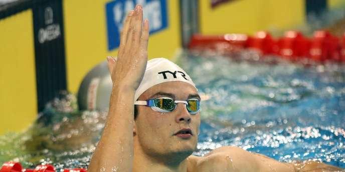Florent Manaudou, deuxième du 100 m nage libre.