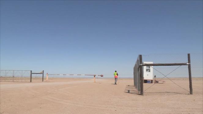 L'entrée de la mine d'uranium de Trekkopje, en Namibie.