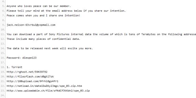 Extrait d'un message donnant accès aux fichiers volés à Sony Pictures Entertainment.