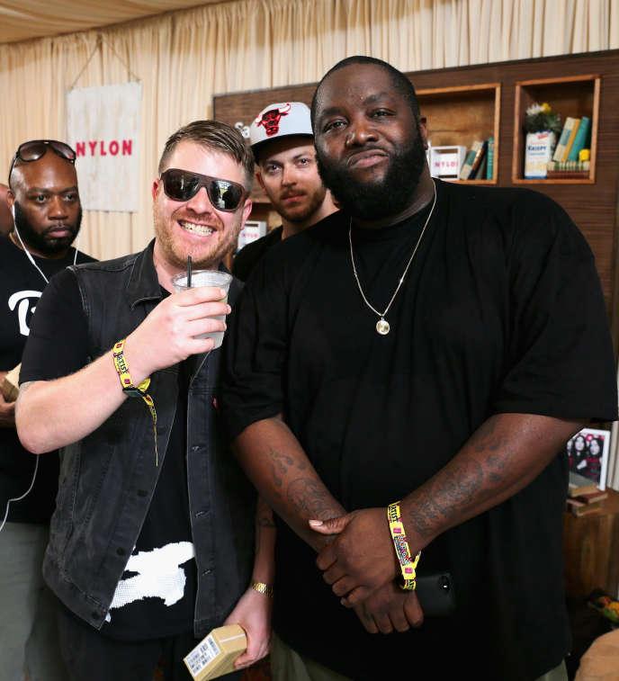 De gauche à droite : El-P, Trackstar et Killer Mike du groupe Run the Jewels à Chicago (Illinois), le 3 août 2014.