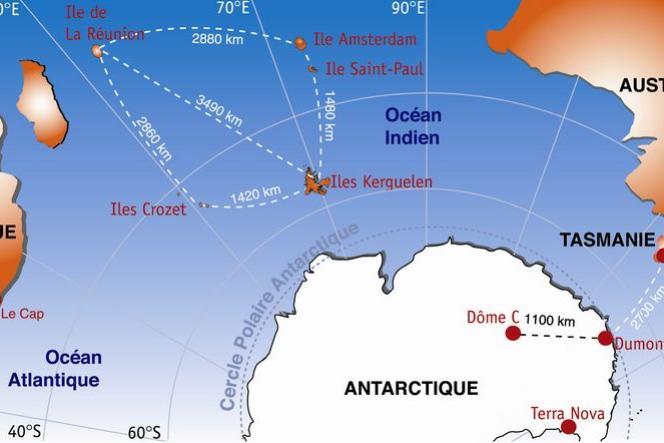 Les Terres australes françaises, perdues au milieu de l'océan Indien (document de l'Institut polaire français Paul-Emile Victor).