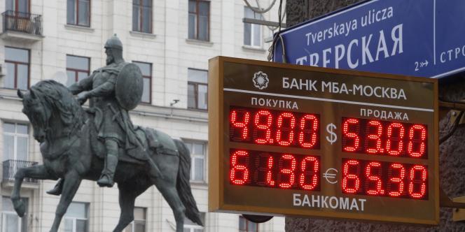 Les taux de change affichés à Moscou, le 1er décembre.