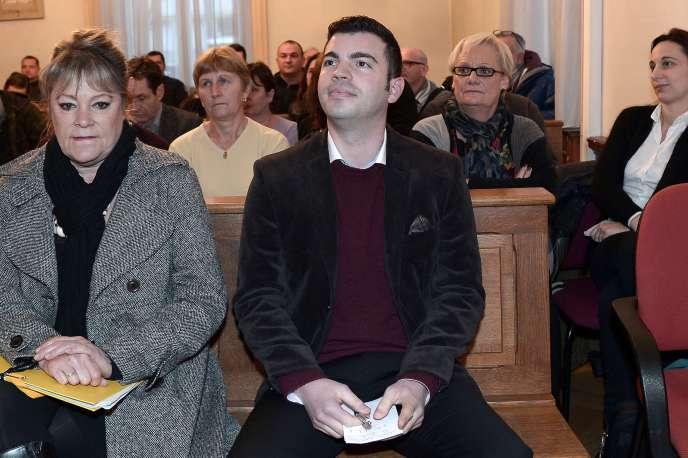 Fabien Engelmann, maire FN de Hayange, le 16 décembre 2014, lors de son audience au tribunal administratif de Strasbourg.