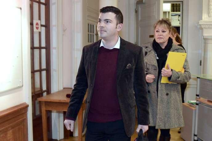 Fabien Engelmann, maire FN d'Hayange (Moselle) au tribunal administratif de Strasbourg, le 16 décembre.