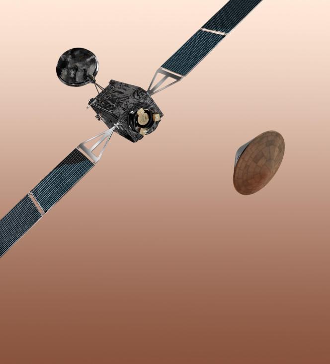 La mission ExoMars 2016, constituée de la sonde Trace Gas Orbiter et de l'atterrisseur Entry, Descent and Landing Demonstrator Module.