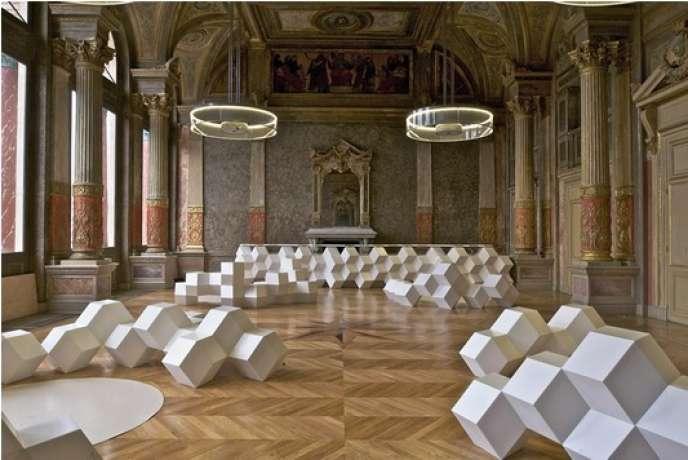 Intérieur du café de la Gaîté Lyrique à Paris (2002-2010), réalisée par Manuelle Gautrand, Prix Femme Architecte 2014.