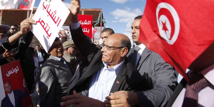 A Sidi Bouzid , le 17 décembre 2014. Le président Moncef Marzouki.