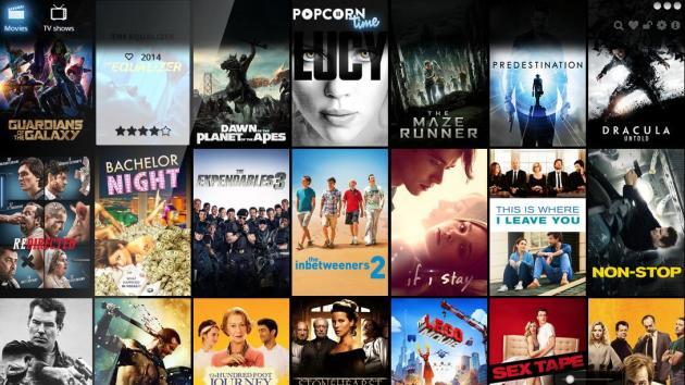 La page d'accueil de Popcorn Time, le 17 décembre.