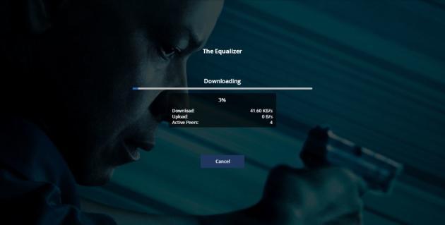 Exemple d'une fenêtre de chargement d'un film sur Popcorn Time, où s'affichent des détails sur les connexions au réseau Torrent qui lui est lié.