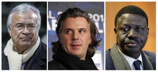 Les dirigeants de l'OM : Jean-Claude Dassier, le président Vincent Labrune, et l'ancien président Pape Diouf.