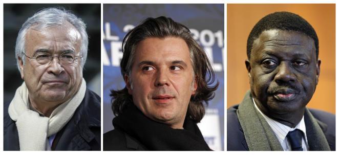 Jean-Claude Dassier,  Vincent Labrune et Pape Diouf.