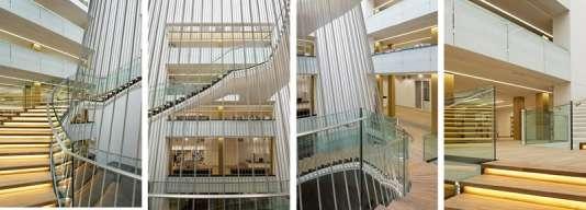 L'escalier central de la Bibliothèque universitaire de Strasbourg.
